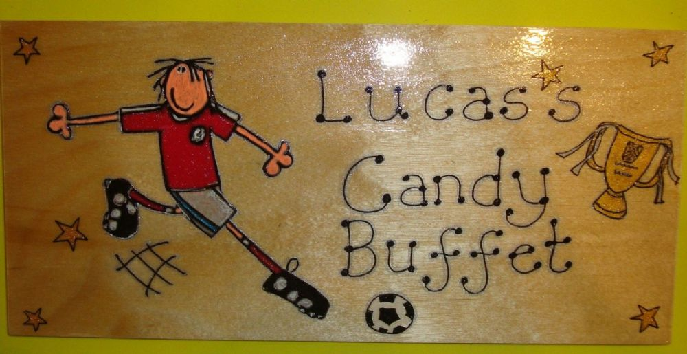 Football Crazy Theme Large Children's Personalised Wooden Sign 9.5 x 4 inches Suitable for Any Occasion Unique Any Phrasing bedroom, playhouse etc
